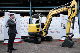 Marc Von Grabowski, President of MHE-Demag Philippines, is presenting the EZ38 Tracked Zero Tail Excavator
